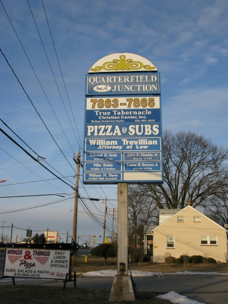 The Quarterfield Junction sign featuring the True Tabernacle Christian Center